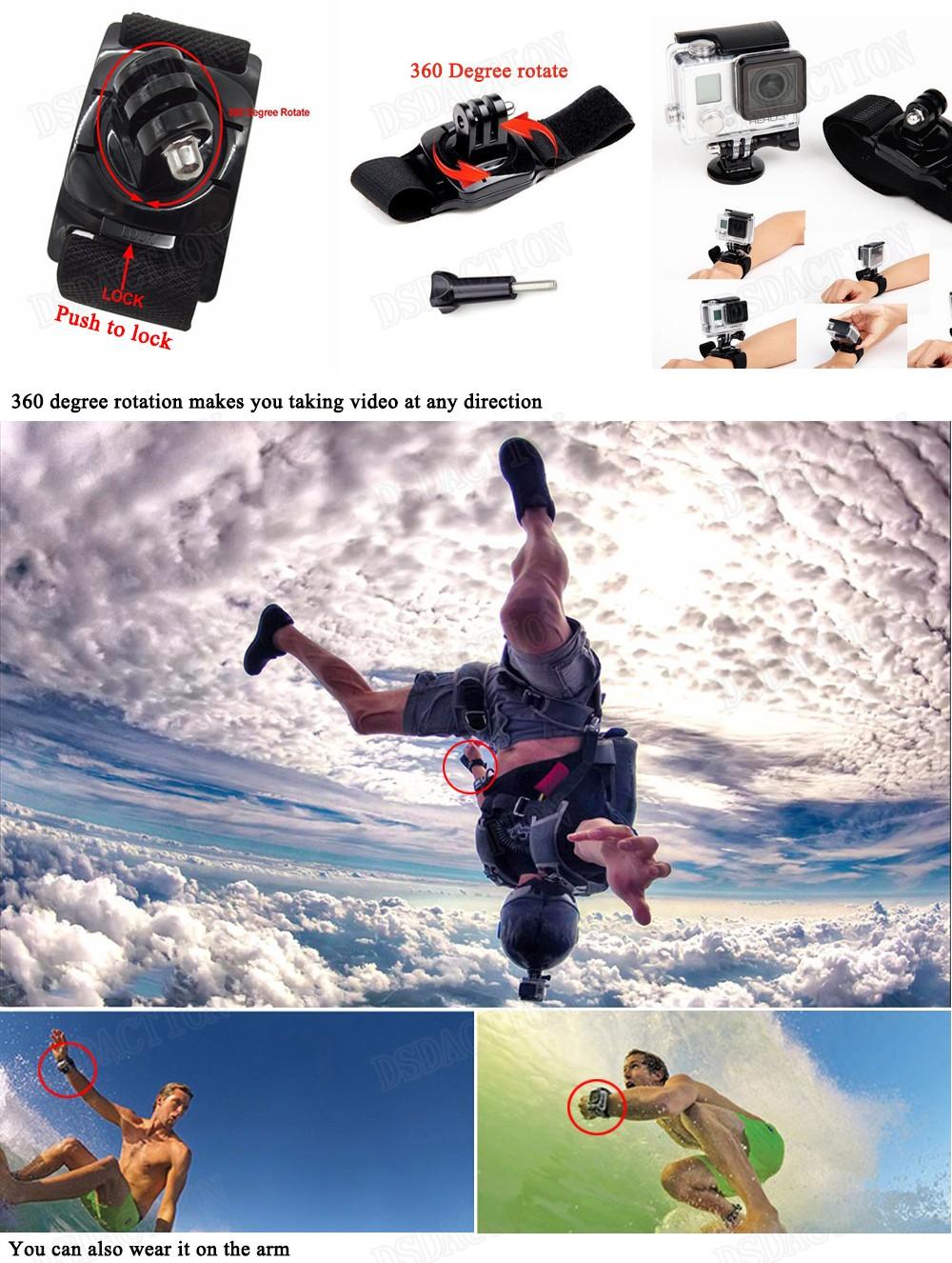Husiway for gopro hero 5 4 3 2 accessories set for go proThree way selfie stick EVA case for Eken h9r xiaomi yi 13J