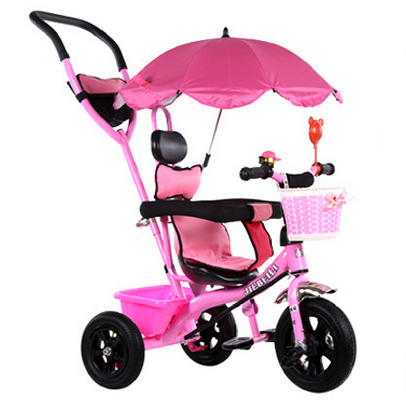 New Fashion Children Tricycle Trolley Baby Bicycle with Sunshade 3 Wheels Anti-shock Brake Adjustable Strollers Kids Learning(China (Mainland))