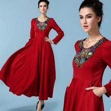 2016 summer women maxi dress red long dress long sleeve sexy O-neck wrap around design robe longue femme