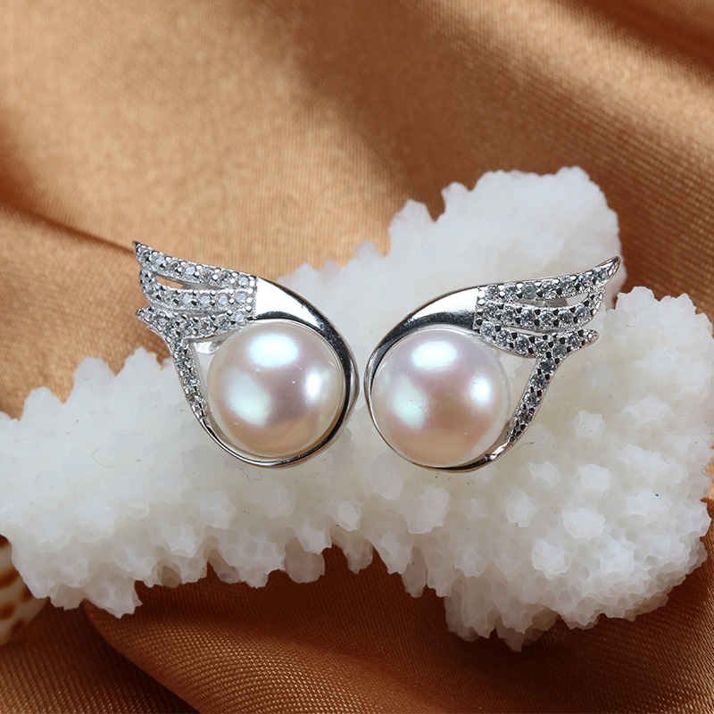 2016 Hot Selling Wing Earrings Top Quality Pearl Stud Earrings 18k White Gold Plated Women's Jewelry white/pink/purple 3 Color(China (Mainland))