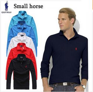 2015 spring small horse logo mens polo brands business lapel long sleeve polo men shirt classic