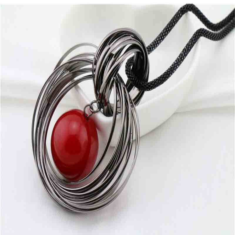 Fashion New Two Circle Simulated Red Pearl Ball Pendant Long Necklaces for Women Gun Black Wire Chain Jewelry Gift Sweater Chain(China (Mainland))