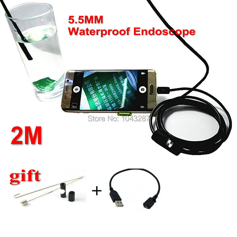 Free Shipping 5.5mm 6 LED Windows Android phone OTG USB Endoscope IP67 Waterproof Inspection Camera With 2M Cable Borescope(China (Mainland))