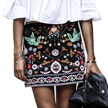 Vintage Floral Embroidery Pencil Skirt for Women Short Black Bohemia Skirts High Waist Boho Embroidered Mini Casual Ethnic Skirt(China (Mainland))