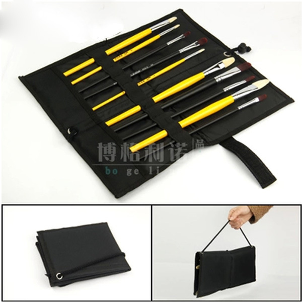 9 Hole Black Pencil Case Student Stationery Canvas Painting Pencil Bag Sketch Case for School Supplies