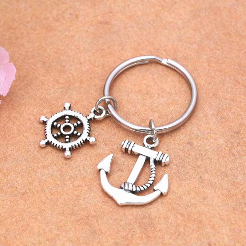 Free Shipping 0pcs Antique Silver Rudder Ship Wheel  Key Rings Keychain Charms Keyring Set DIY Jewelry 25mm S5950<br><br>Aliexpress