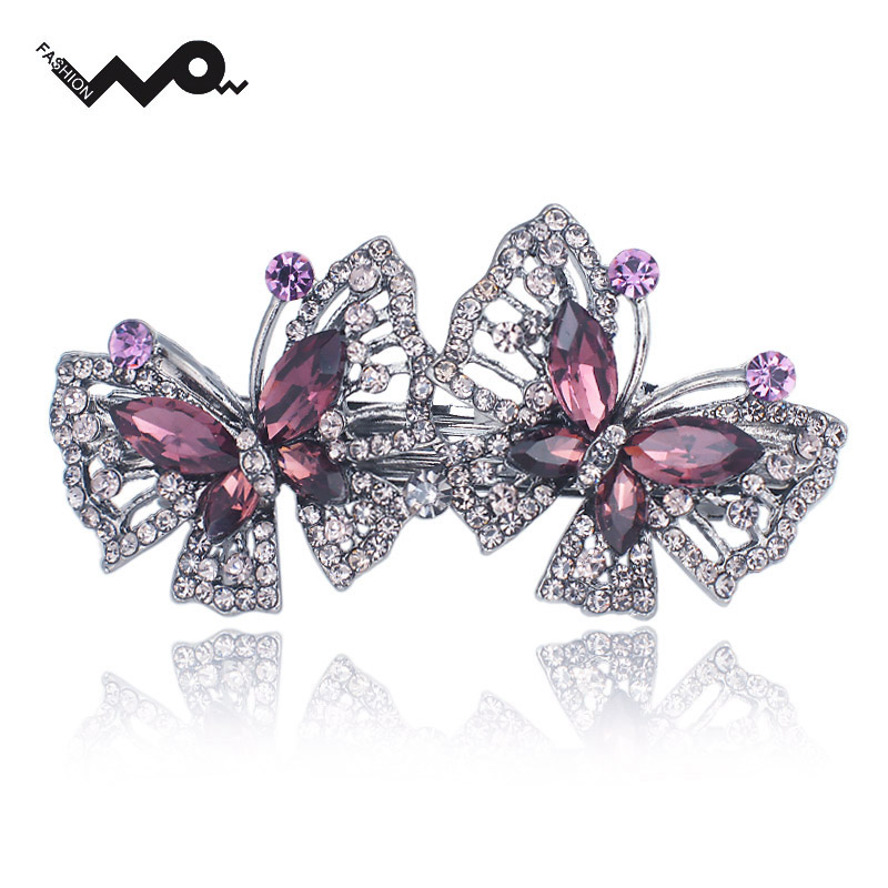 Double Butterfly Rhinestone Big Crystal Elegance Hair Clip Barrette Hairpin Accessories Hair Jewelry For Woman Wedding F125(China (Mainland))