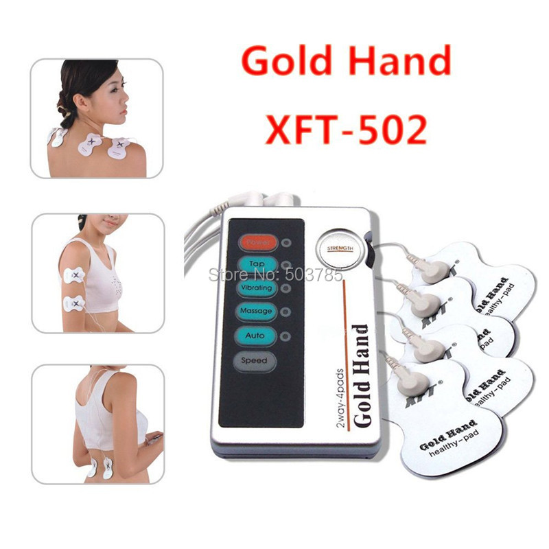 2 Ways 4 pads Low Frequency EMS TENS Device Slimming Body Muscle Stimulator Electric Shock Vibrating Therapy Massager Machine(China (Mainland))