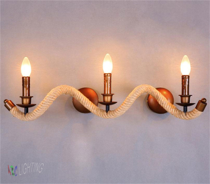 American Vintage Hemp Rope Wall Lamps Loft Wall Lights For Art Gallery/ Bar/ Restaurant E14 3 Head stair light home wall sconce<br><br>Aliexpress