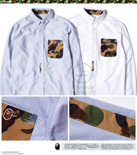 Vintage HARAJUKU Camouflage pocket male solid color long-sleeve shirt male