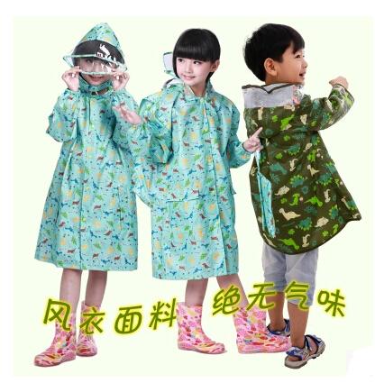 2015 high quality cartoon dinosaur raincoats winter waterproof baby kids rain ponchos chubasquero mujer schoolbag for boys girls(China (Mainland))
