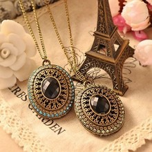 GH324 new 2014 Vintage Bohemia Baroque Black long sweater chain Bronze Necklaces pendants for women jewelry