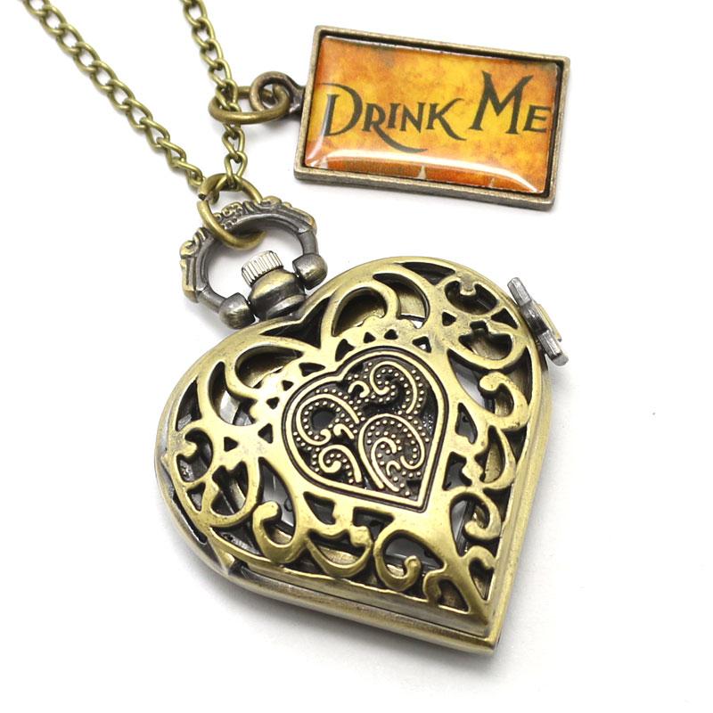 Antique Bronze Steampunk Hollow Heart Shape Drink Me Pocket Watch Fob Clock Best Gift<br><br>Aliexpress