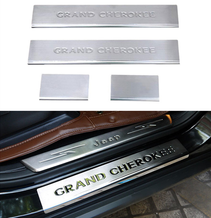4pcs car door sill covers door step sill trim cover pads for jeep grand cherokee 2011 2014 in. Black Bedroom Furniture Sets. Home Design Ideas