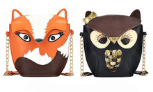 Owl Women Leather Handbag Cartoon Bag Fox Shoulder Bags Women Messenger Bag 100PCS lot