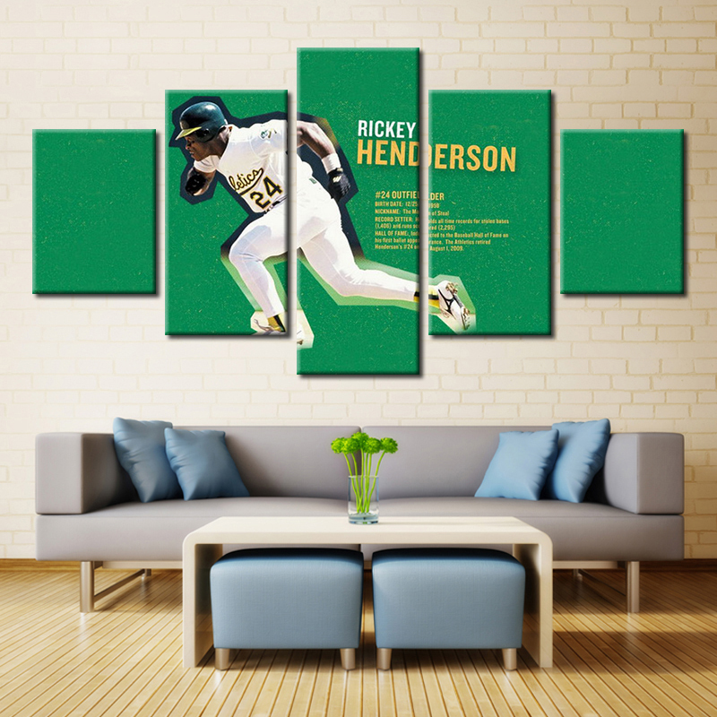 5 piece canvas print oil painting wall pictures for living room paintings cuadros decorativos green football rickey henderson(China (Mainland))