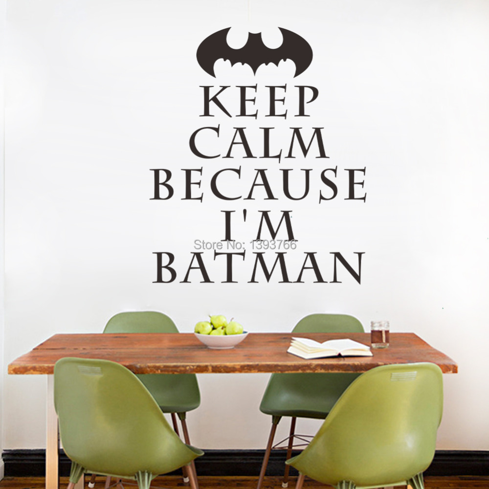 I'm Batman Keep Calm Wall Art Stickers for Kids Rooms Decal DIY Home Decoration Decor Mural Decals (China (Mainland))