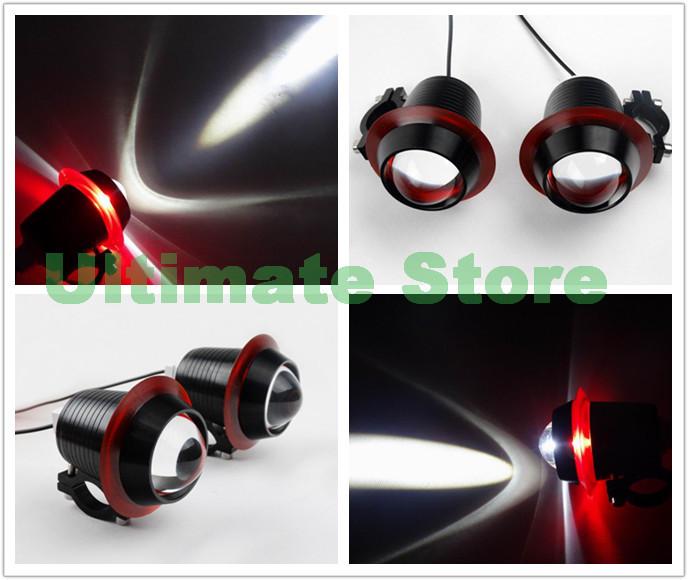 Motorcycle Black Aluminum CNC Metal Spot Light Foglight Red Angle Eye Cree LED Headlight Flash Guard Bar Mount For Harley Custom(China (Mainland))