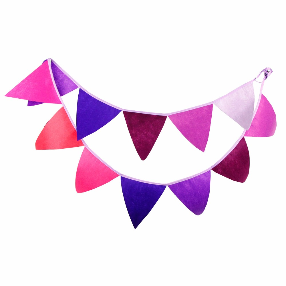12 Flags - 3.2M Purple Colour Felt Banners Birthday party Bunting Decor Indian Camping Garland Halloween Decoration(China (Mainland))