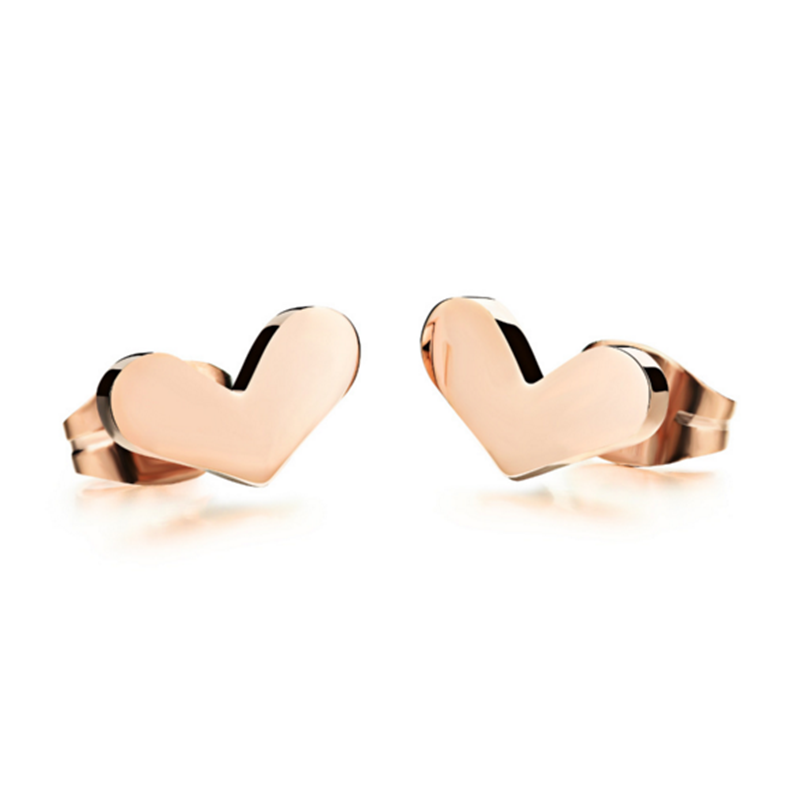 Quality Heart High Design Woman Stud Earrings Romantic Rose Gold Plated Stainless Steel Delicate Women Girls Jewelry(China (Mainland))
