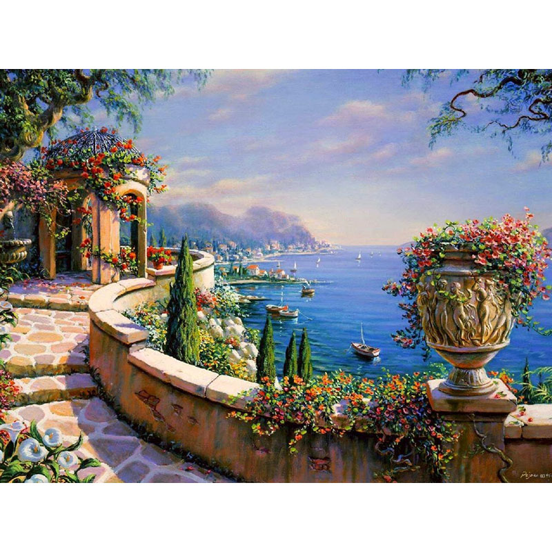 Frameless The Mediterranean Sea Diy Painging By Numbers Kits Coloring Picture Wall Art Canvas Painting Home Decor Artwork 40x50(China (Mainland))