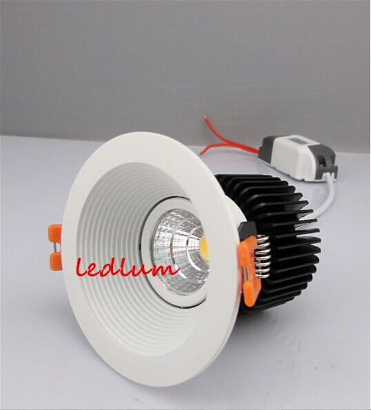 High Quality Dimmable LED COB Downlights 15W Led Recessed Lights Warm White 3000K Cool/Pure White White Shell CE&ROHS+Driver(China (Mainland))