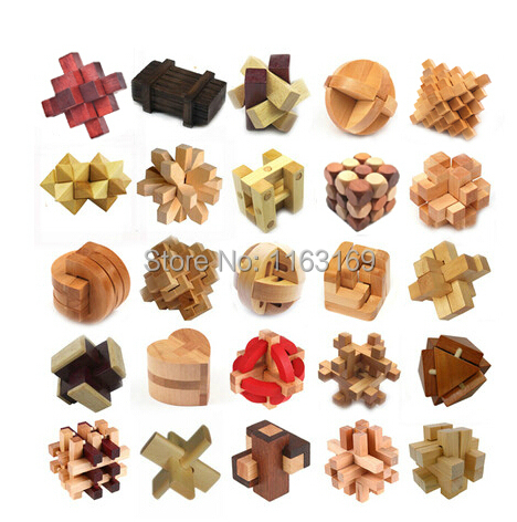 Classic IQ 3D Wooden Interlocking Burr Puzzles Mind Brain Teaser Game Toy for Adults Children