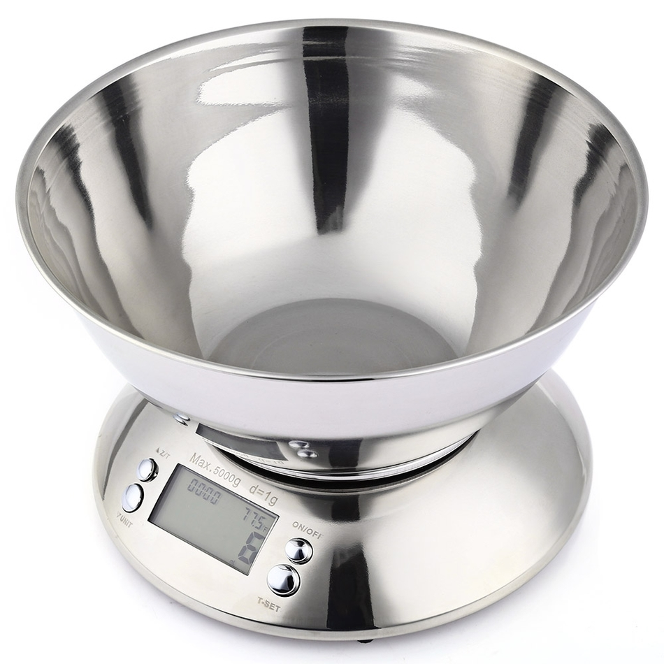 Cooking Tool Stainless Steel Electronic Weight Scale Food Balance Cuisine Precision Kitchen Scales with Bowl 5kg 1g(China (Mainland))
