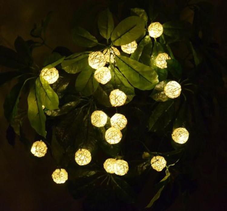 com  Buy Outdoor Solar Power 20 LED Rattan Ball Fairy Light