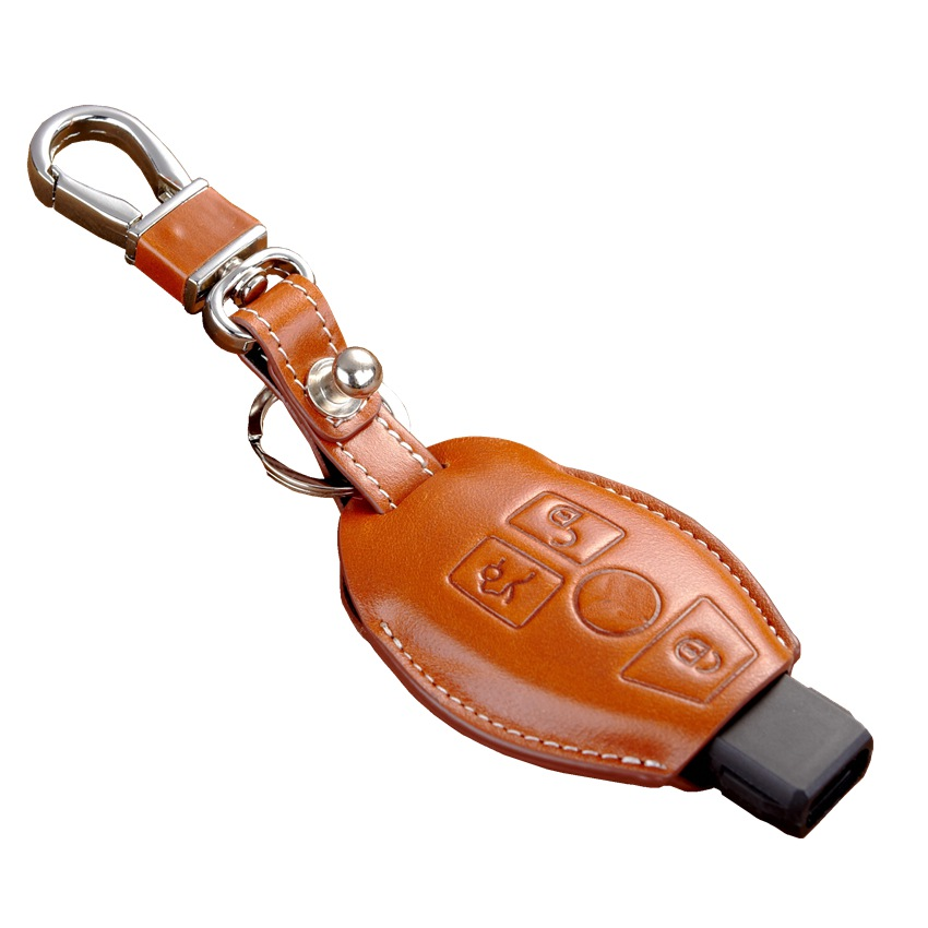 Fob leather key cover for auto mercedes benz key case for Mercedes benz key cover