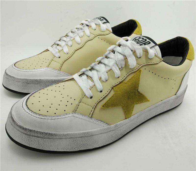 Bass White Shoes Golden Goose Women Men Shoes Yellow Genuine Leather Ggdb Casual Shoes Scarpe Uomo Brand Femme Ganso De Oro 2016 hogan scarpe uomo