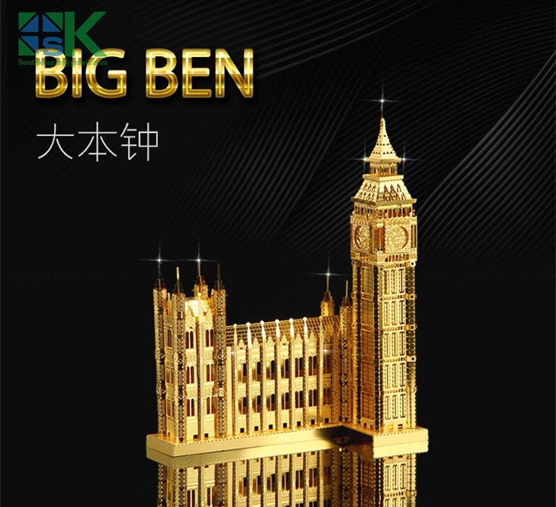 2016 New 3D metal model Metal Earth ICONX NANYUAN BIG BEN Brass etching puzzle United Kingdom Construction C high quality(China (Mainland))
