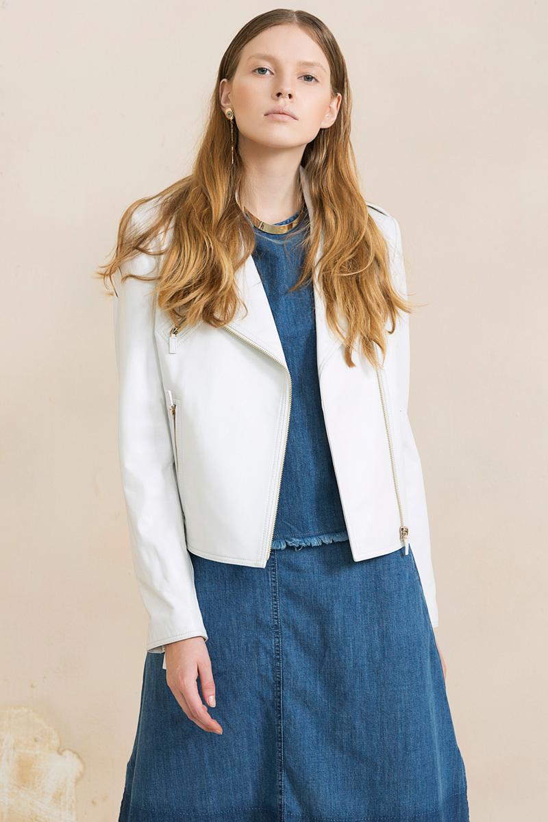 Brand Leather Jacket Women 2015 Autumn leather Outerwear Motorcycle Jackets White Short Slim Coat free shipping