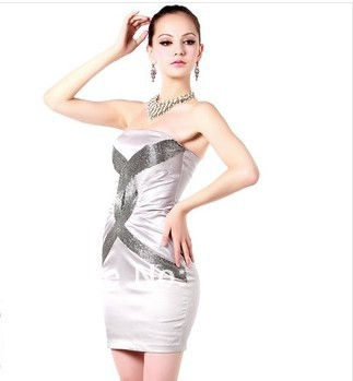 Sheath Bodycon Bandage Dress Backless Strapless Satin Tube Top Sexy Pub Wear Red(China (Mainland))