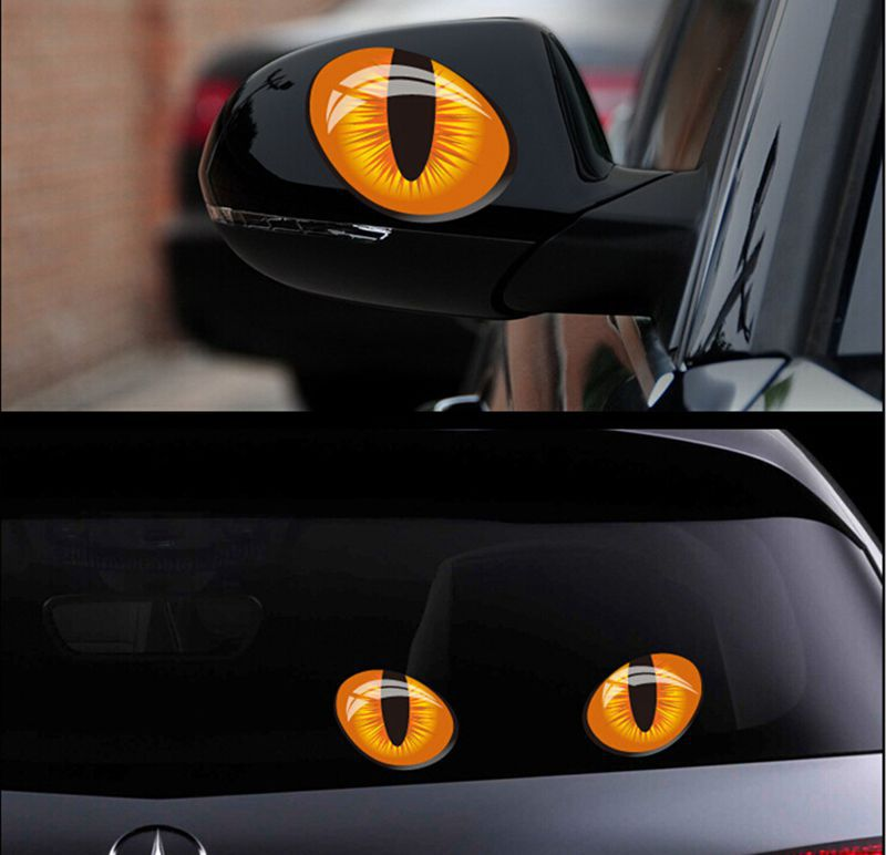 Гаджет  Motocycle Cat Eyes  mini 3D Car Decals Sticker Personalized Rearview Mirror Sticker For All Cars Car Accessory None Автомобили и Мотоциклы