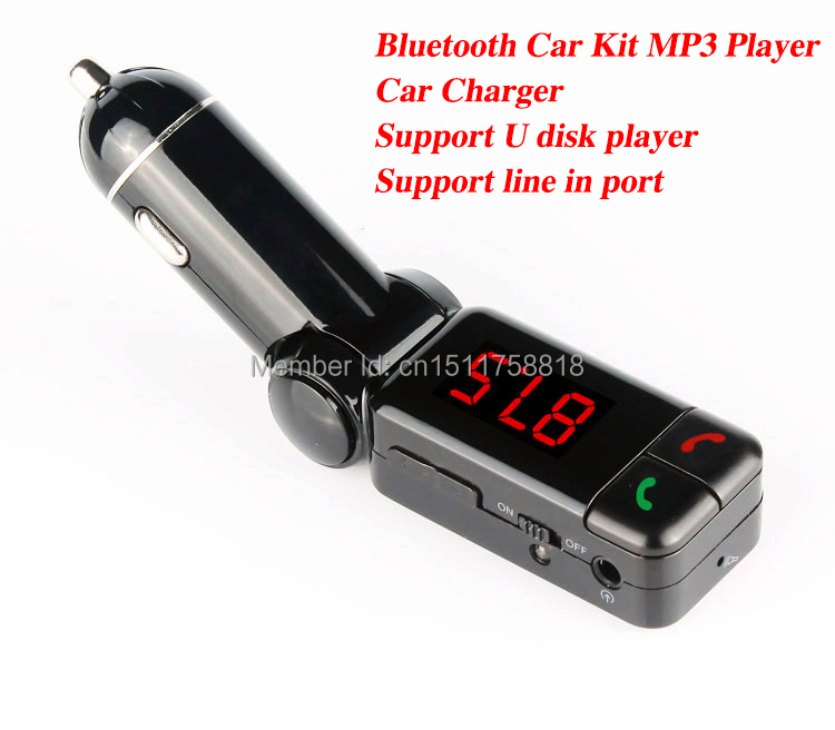 Free Shipping A2DP Bluetooth FM Transmitter Wireless Hands-Free Calling with Dual USB Charging Port, Support USB Disk AUX 3.5mm(China (Mainland))