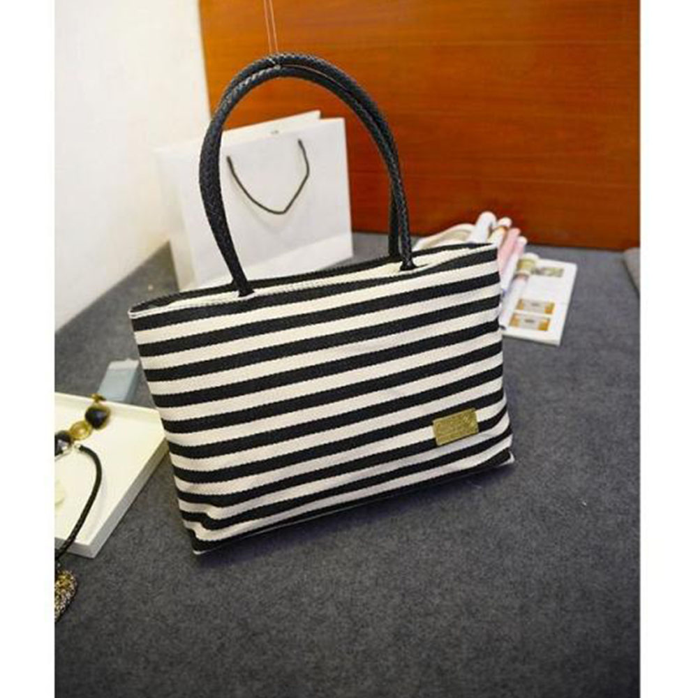 2016 New Special Big Stripe Shoulder Handbags Shopping Bag Handbag Fashion Canvas Bag Wild Rough Twine Striped Beach Bag(China (Mainland))