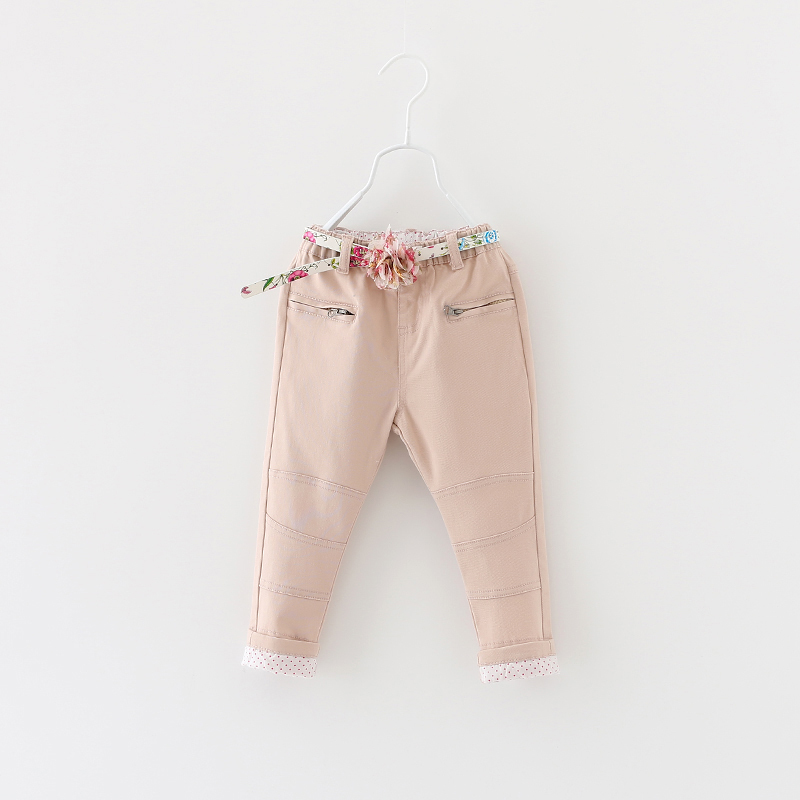 Girls Solid Pants Autumn New 2015 Kids Zipper Pocket Elastic Waist Straight Style With Floral Sashes Children Clothing 6pcs/ LOT<br><br>Aliexpress