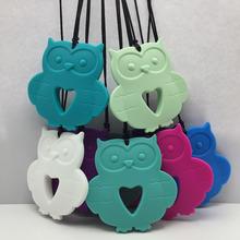 owl silicone Baby Teething Necklace, Owl siliconeTeething pendant Owl Silicone Teether Pendant for Nursing(China (Mainland))