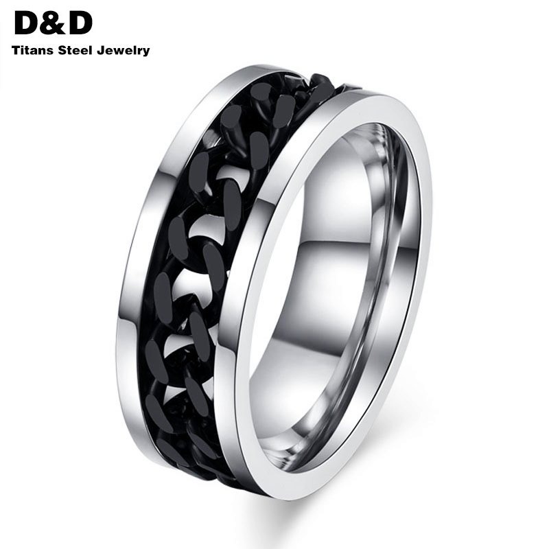 Fashion Spinner Black Chain Ring For Men Stainless Steel Wedding Mens Ring Wholesale Cool Jewelry R-016(China (Mainland))