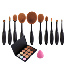Makeup Set Toothbrush Makeup Brushes+15 Colors Concealer + Powder Puff Cosmetic Beauty Oval Cream Puff Brushes Maquillage(China (Mainland))