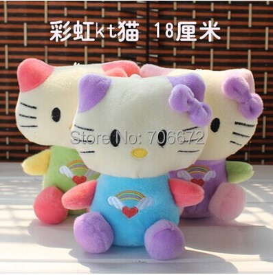 Stuffed animal lovely colourful rainbow kitty plush Toy 18cm hello kitty doll baby gift one set / 9 pieces toys b4488(China (Mainland))