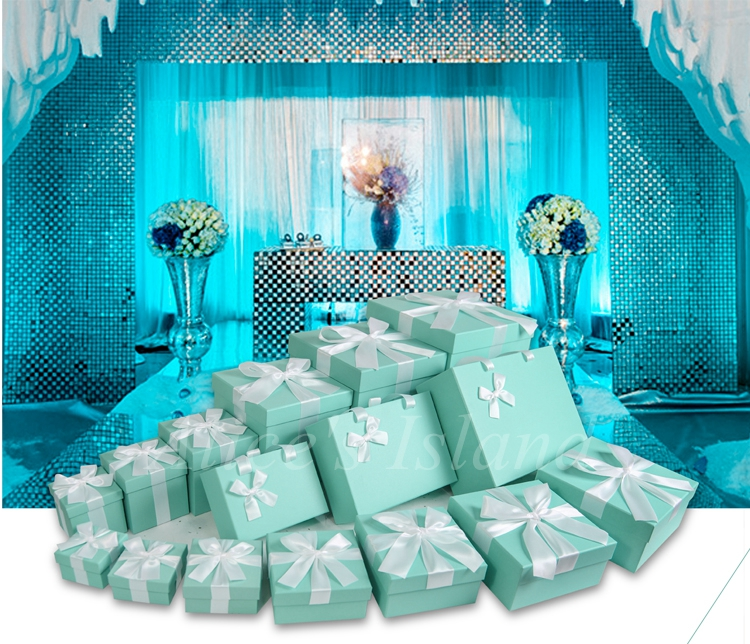 7pcs set tiffany blue ideas wedding decoration boxes theme wedding romantic baby shower home - Engagement party decoration ideas home property ...