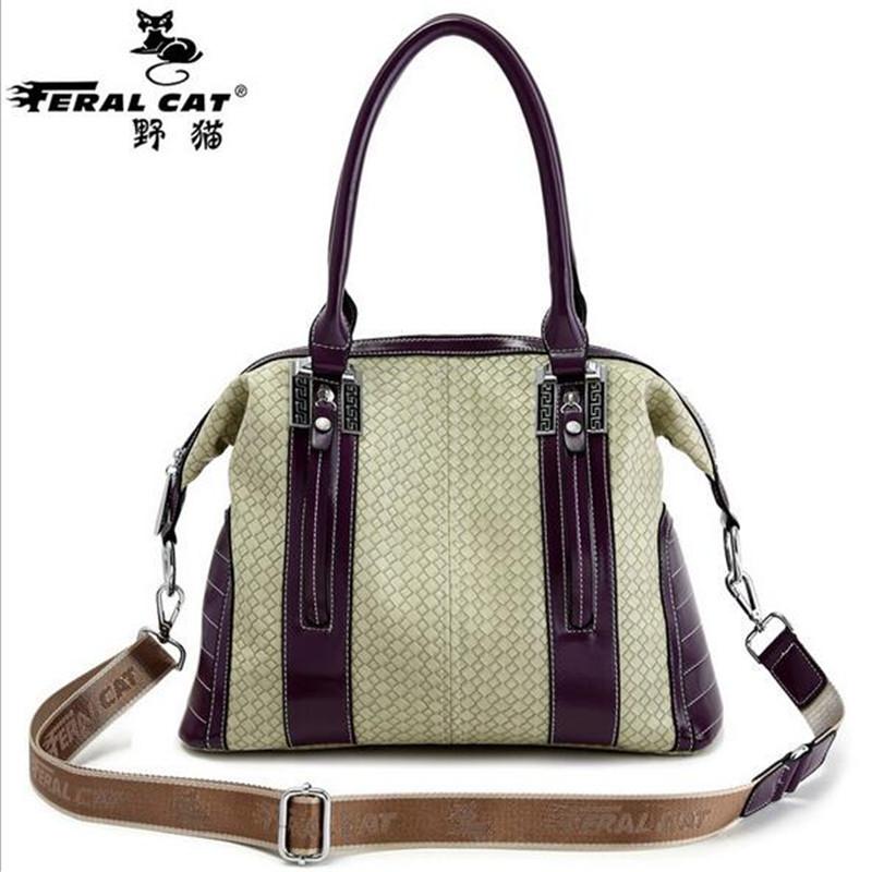 FERAL CAT PU High Quality Woman Handbag Big Splice Crossbody Bag Women Brand Tote Handbag Women Famous Brand Shoulder Bag Female(China (Mainland))