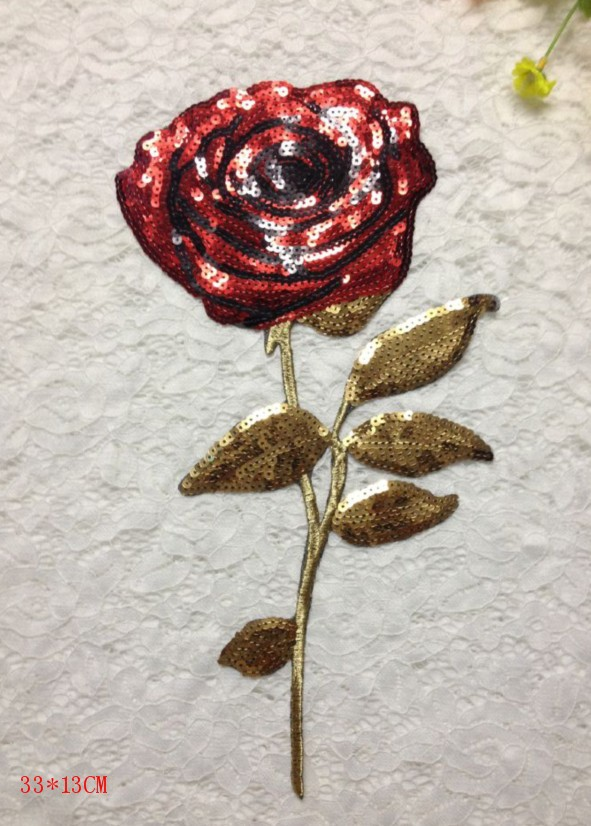 Aliexpress buy sequin applique rose embroidered