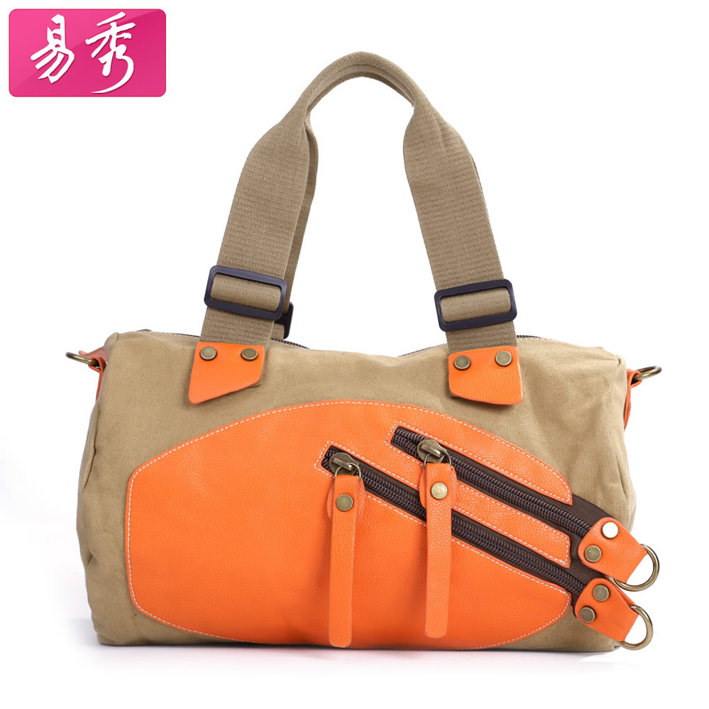 Large capacity one shoulder cross-body handbag canvas color block casual fashion womens bags<br><br>Aliexpress
