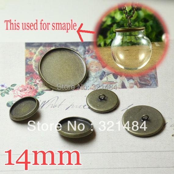 Antique bronze 500pcs Caps Covers For glass bottle vials pendant 14mm Blank Base Setting jewelry DIY Wholesale