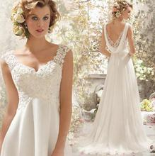 New A Line Embroidery V Neck Tank Sleeveless Sweep Train White Satin Bridal Wedding Dress Wedding Gown 30345