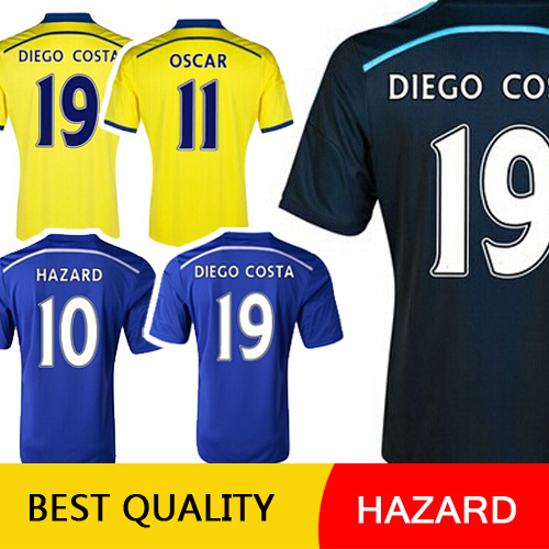 HAZARD DIEGO COSTA Soccer Jersey Chelsea Jersey 2015 Chelsea 14 15 OSCAR LAMPARD Home Blue Away Black Football Shirts DROGBA(China (Mainland))