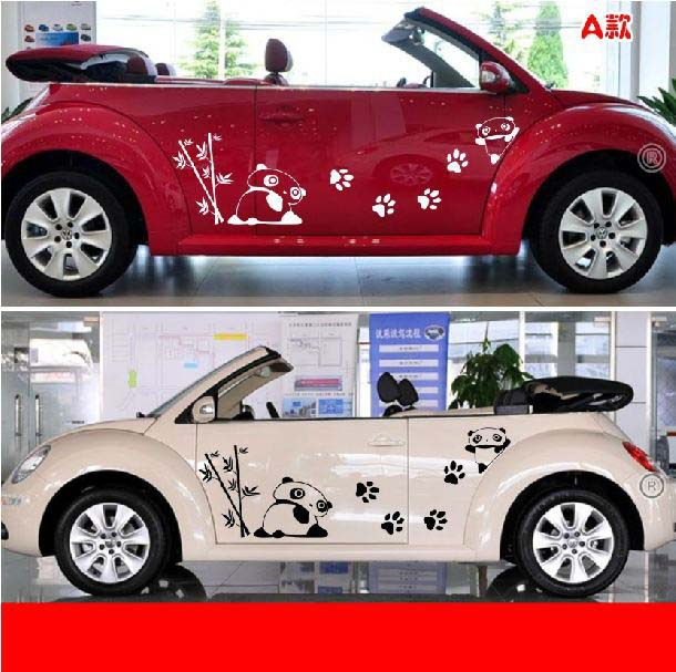 Car Reflective 3M Vinyl Adhesive Decal Panda Baby Cute Animation Sticker With Funny Comics Pattern For Auto Decal(China (Mainland))